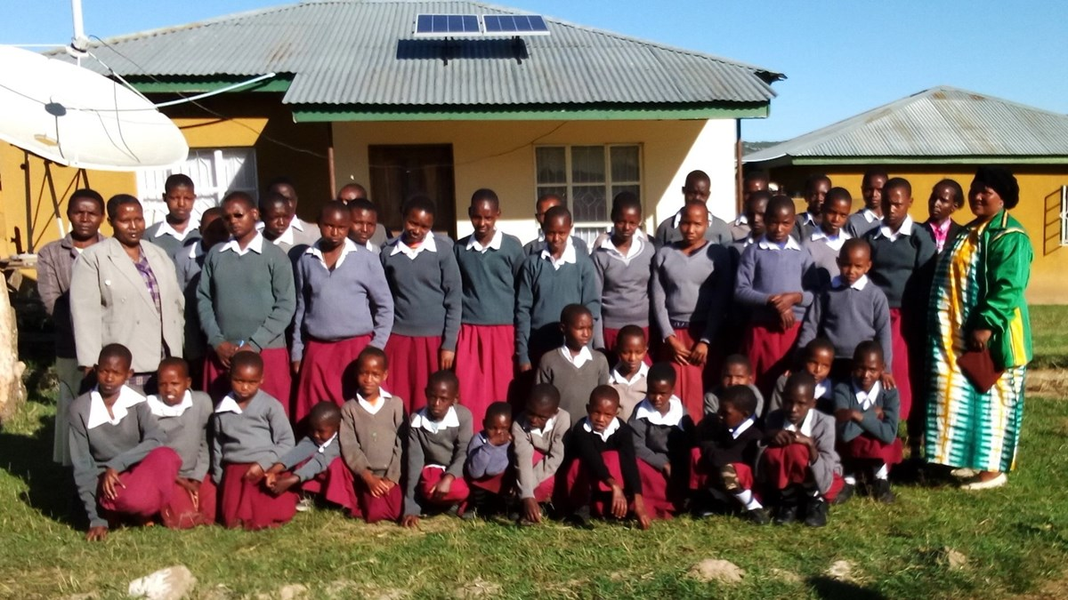 Fabian Girls In Front Of Their Dormitory With Solar On Roof